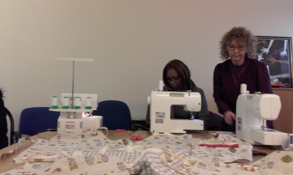 Bernadette and Marie with the new sewing machines