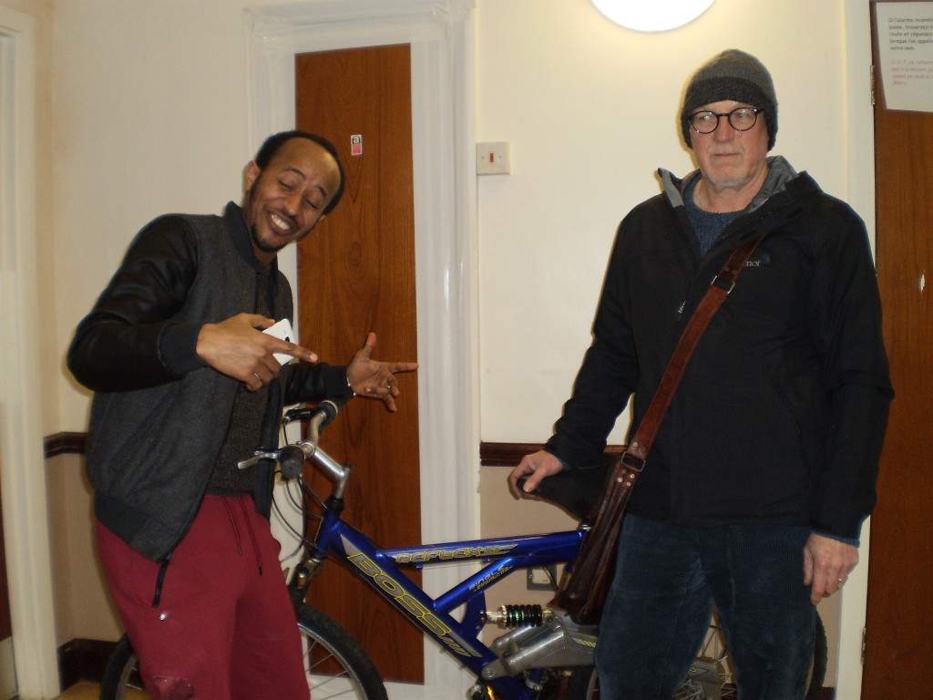 Habtom and Jim with one of the bikes